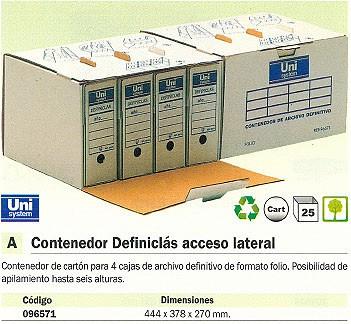 ENVASE DE 25 UNIDADES DEFINICLAS CONTENEDOR DEFINICLÁS PARA 4UD FOLIO 444X378X270MM ACCESO LATERAL 96571