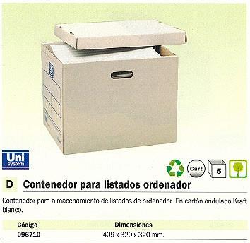 ENVASE DE 5 UNIDADESDEFINICLAS CONTENEDOR ARCHIVO DEFINITIVO PARA LISTADOS ORDENADOR 409X320X320 MM KRAFT CARTON 96710