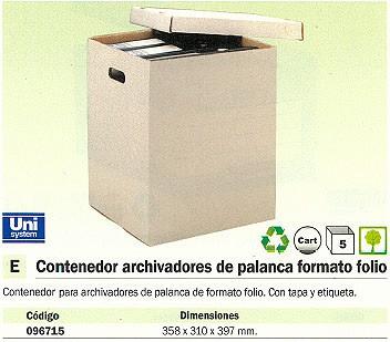 ENVASE DE 5 UNIDADES DEFINICLAS CONTENEDOR ARCHIVO DEFINITIVO FOLIO 358X310X397 MM PALANCA 96715