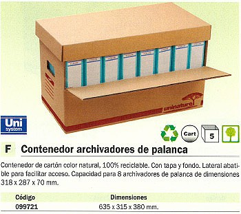 ENVASE DE 5 UNIDADES DEFINICLAS CONTENEDOR ARCHIVADORES PALANCA 635X315X380 MM LATERAL ABATIBLE CON TAPA Y FONDO 99721