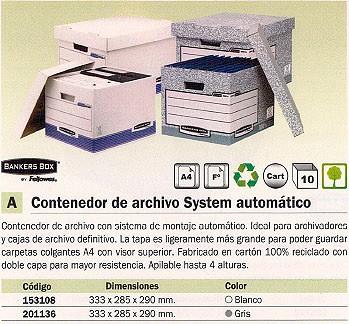 ENVASE DE 10 UNIDADES FELLOWES CONTENEDOR ARCHIVO DEFINITIVO 333X285X290 MM PAREDES Y ASAS REFORZADAS CARTON 00810-FFEU