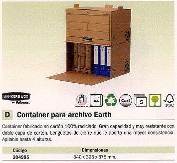 ENVASE DE 5 UNIDADES FELLOWES ARCHIVO DEFINITIVO A4 555X325X260 CIERRE LENGÜETA CONTENEDOR CARTÓN 4471101