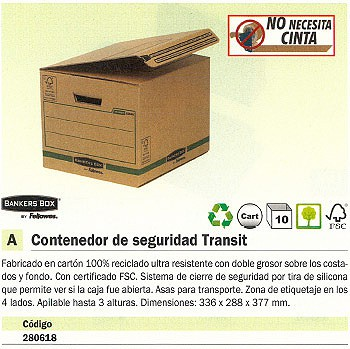 ENVASE DE 10 UNIDADES FELLOWES CONTENEDOR SEGURIDAD TRANSIT 336X288X377 MM APILABLE HASTA 3ALTURAS 6204601