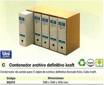 DEFINICLAS CONTENEDOR ARCHIVO DEFINITIVO PARA 5 CAJAS FOLIO 566 X 399 X 266 MM KRAFT 96573