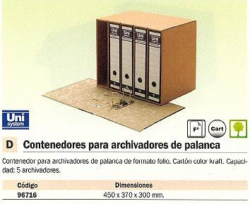 DEFINICLAS CONTENEDOR ARCHIVADORES PALANCA PARA 5UD FOLIO KRAFT 96716