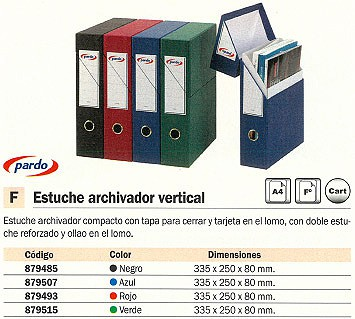 PARDO ESTUCHE ARCHIVADOR LOMO 80MM A4 VERDE 245604