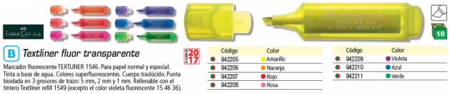 ENVASE DE 10 UNIDADES FABER CASTELL FLUORESCENTE CUERPO TRASLUCIDO ROSA 154628