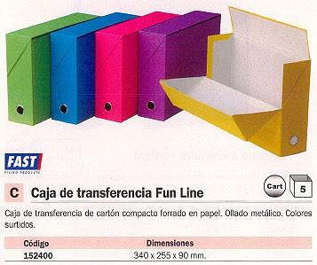 ENVASE DE 5 UNIDADES FAST CAJA TRANSFERENCIA FUN LINE 340X260X90 MM COLORES SURTIDOS CARTON COMPACTO FORRADO 11102X5