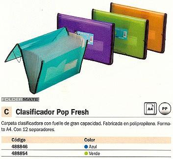 FOLDERMATE CARPETA CLASIFICADORA POP FRESH 12 POSICIONES A4 VERDE 134-DL