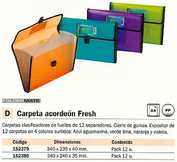 FOLDERMATE EXPOSITOR CARPETAS ACORDEON FRESH PACK 12 UD 12 SEPARADORES A4 CON BROCHE C. SURTIDOS 154-2