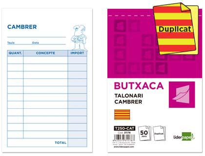 ENVASE DE 10 UNIDADES TALONARIO LIDERPAPEL CAMARERO BOLSILLO ORIGINAL Y COPIA T250 TEXTO EN CATALAN