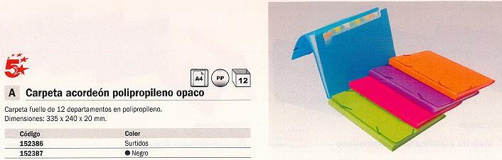 5 STAR CARPETA CLASIFICADORA 12 COMPARTIMENTOS A4 CON FUELLE NEGRO POLIPROPILENO 424799