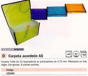 ENVASE DE 12 UNIDADES FOLDERMATE CARPETA ACORDEON 12 SEPARADORES A5 4 COLORES SURTIDOS 1049SURT