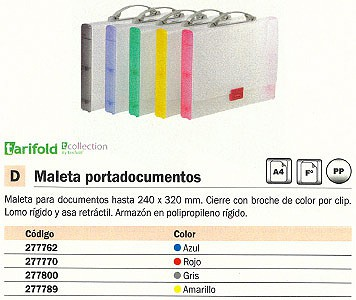 TARIFOLD MALETA PORTADOCUMENTOS POLIPROPILENO A4-FOLIO 240X320MM GRIS 511400