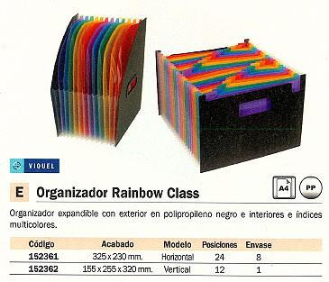VIQUEL ORGANIZADOR RAINBOW CLASS 12 COMPARTIMENTOS 255X320 NEGRO + COLORES VERTICAL 11118705
