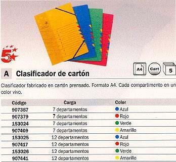 ENVASE DE 5 UNIDADES 5 ESTRELLAS CARPETA CLASIFICADORA 7 POSICIONES A4 AZUL CARTON 907387
