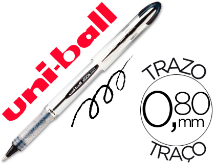 ENVASE DE 12 UNIDADES UNI-BALL ROLLER UB-200 VISION NEGRO 0,8 MM -UNIDAD