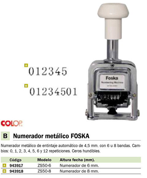 Sellos y Tampones COLOP NUMERAD. ZS50-8 FOSKA 8MM NUMF.ZS508