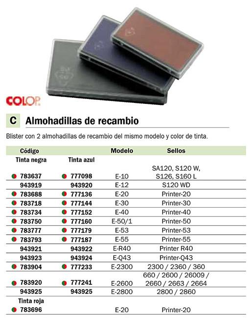 Sellos y tampones COP 2 ALMOHAE-2800/2860 TINTA AZ 107809