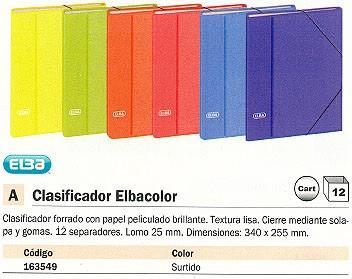 CLASIFICADOR ELBACOLOR 12 SEPARADORES 340X255 LOMO 25 MM COLORES SURTIDOS 100580256