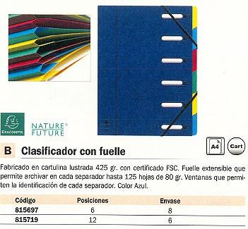 EXACOMPTA CARPETA CLASIFICADORA 6 SEPARACIONES A4 CON FUELLE AZUL CARTULINA 55062E