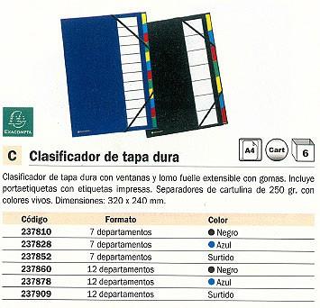 ENVASE DE 6 UNIDADES EXACOMPTA CARPETA CLASIFICADORA 12 POSICIONES A4 CON FUELLE EXTENSIBLE AZUL TAPA DURA 55342E