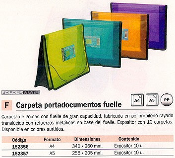 FOLDERMATE EXPOSITOR PORTADOCUMENTOS CON FUELLE 10 UD A4 COLORES SURTIDOS 846-2