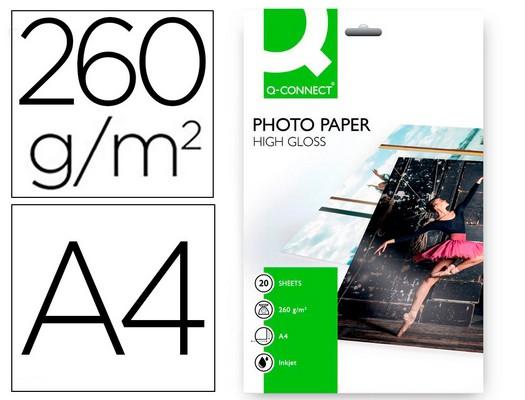 DIN A4 PAPEL Q-CONNECT FOTO GLOSSY KF02163 DIN A4 ALTA CALIDAD DIGITAL PHOTO -PARA INK-JET BOLSA DE 20 HOJAS DE 260 GR