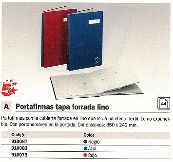 5 ESTRELLAS PORTAFIRMAS A4 20 POSICIONES ROJO TAPA FORRADA LINO 910075