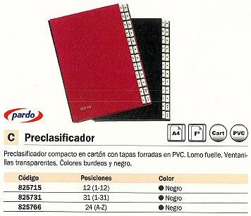 PARDO PRECLASIFICADOR A4 LOMO FUELLE 24 (A Z) NEGRO 82401