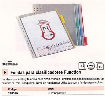 ENVASE DE 5 UNIDADES DURABLE FUNDAS CLASIFICADORAS FUNCTION A4 TRANSPARENTE 218570