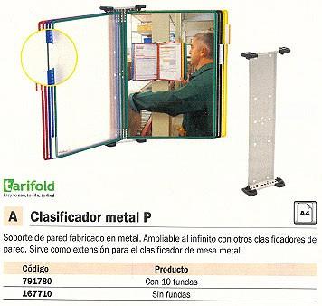 TARIFOLD SOPORTE CLASIFICADORES PARED SIN FUNDAS A4 METAL 214000