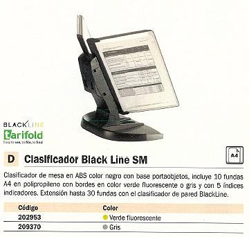 TARIFOLD CLASIFICADORES SOBREMESA BLACK LINE SM 10 FUNDAS A4 VERDE FLUORESCENTE 734335