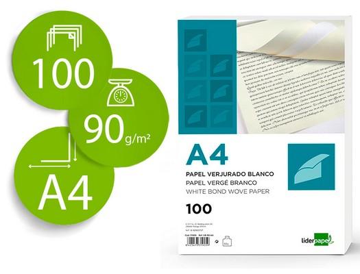 Papel verjurado PAPEL VERJURADO LIDERPAPEL A4 120 G-M2 BLANCO PAQUETE DE 100 VJ02