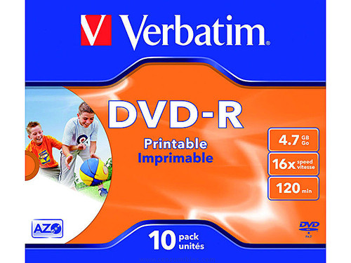 VERBATIM DVD R ADVANCED AZO JEWEL CASE 10 16X IMPRIMIBLE INKJET 4.7GB 43521