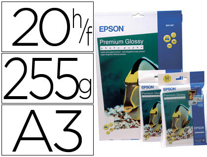 PAPEL EPSON PREMIUM GLOSSY PHO TO PAPER A3 (20HOJAS) 255GR. 255 GR.