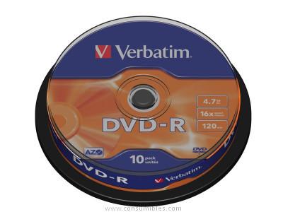 VERBATIM DVD+R ADVANCED AZO BOBINA 10 UD 16X 4.7GB 43523