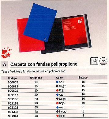 ENVASE DE 8 UNIDADES 5 STAR CARPETAS FUNDAS 40 FUNDAS A4 NEGRA 901333
