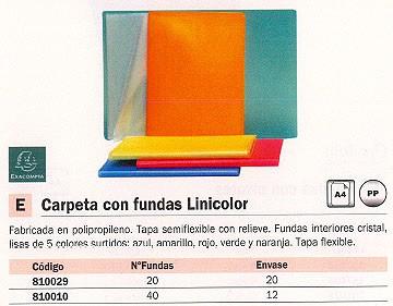 EXACOMPTA CARPETAS FUNDAS LINICOLOR 20 FUNDAS COLORES SURTIDOS TAPA FLEXIBLE 85277E