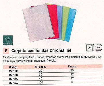 ENVASE DE 20 UNIDADES EXACOMPTA CARPETAS FUNDAS CHROMALINE 20 FUNDAS A4 COLORES SURTIDOS TAPA SEMI-FLEXIBLE 85269E