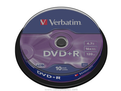DVD+ R Advanced AZO bobina pack 10 unidades 16x 4 7Gb 120 min 43498