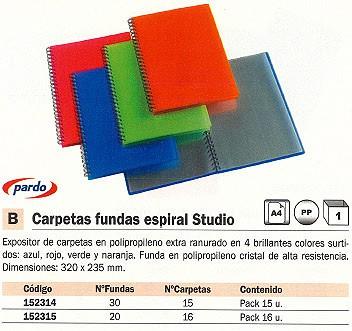 PARDO EXPOSITORES 15 CARPETAS FUNDAS COLORES SURTIDOS 872018