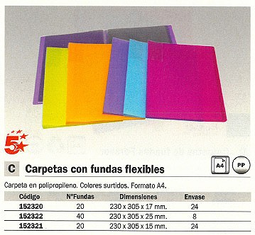 5 ESTRELLAS CARPETAS FUNDAS 20 FUNDAS 230X305X17 COLORES SURTIDOS 42360022