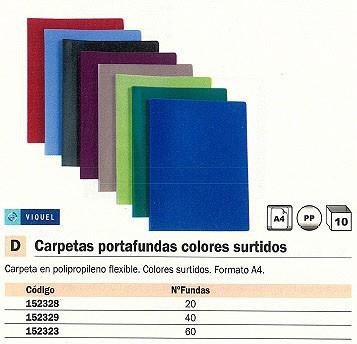 ENVASE DE 10 UNIDADESVIQUEL CARPETAS FUNDAS 60 FUNDAS A4 COLORES SURTIDOS 51208704