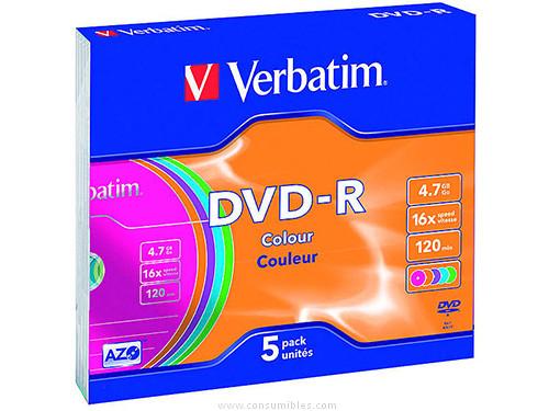 VERBATIM DVD R ADVANCED AZO CAJA 5 16X 4.7GB 43557