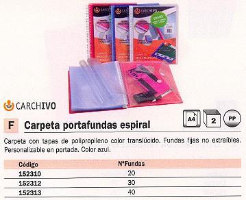 CARCHIVO CARPETAS FUNDAS 30 FUNDAS A4 AZUL TRANSLUCIDO PORTADA PERSONALIZABLE 8130K4