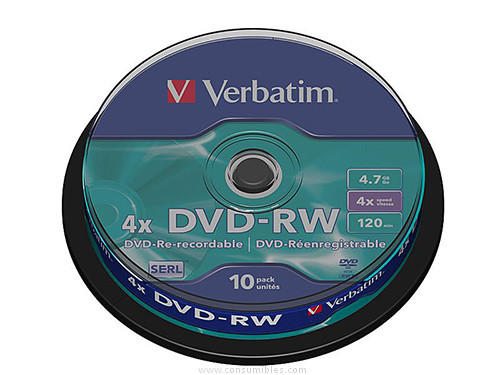 VERBATIM DVD RW ADVANCED SERL BOBINA 10 UD 4X 4.7GB 43552