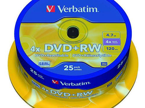 VERBATIM DVD+RW ADVANCED SERL BOBINA 25 4X 4.7GB 43489