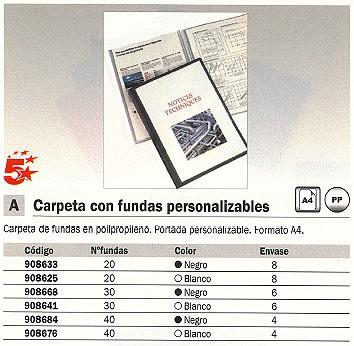 ENVASE DE 4 UNIDADES 5 STAR CARPETAS FUNDAS 40 FUNDAS A4 NEGRA 908684