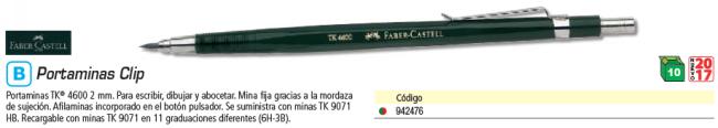 ENVASE DE 10 UNIDADES FABER CASTELL PORTAMINAS TK® 4600 CON CLIP 2 MM. AFILAMINAS INCORPORADO.134600